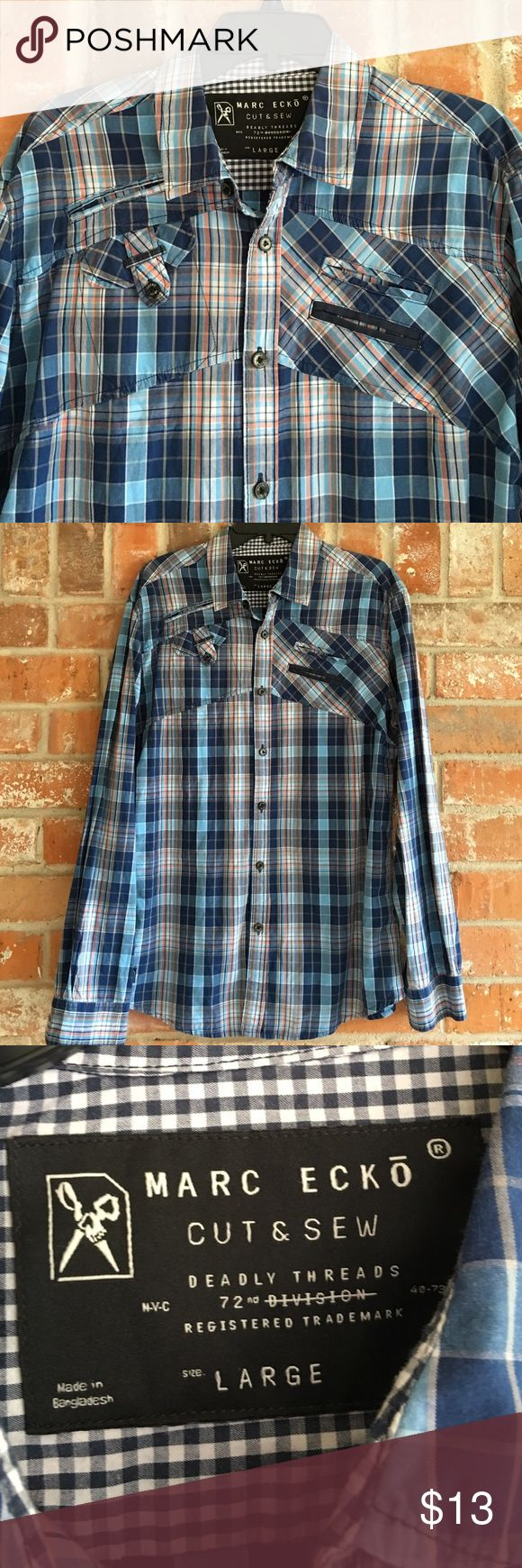 Men's Plaid Shirt By Marc Ecko This shirt is so nice and in EUC. If you need measurements just ask. Marc Ecko Shirts Casual Button Down Shirts