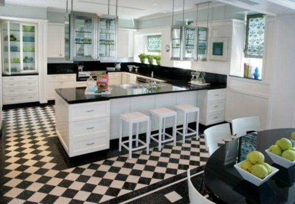 karierten Boden küche weiß