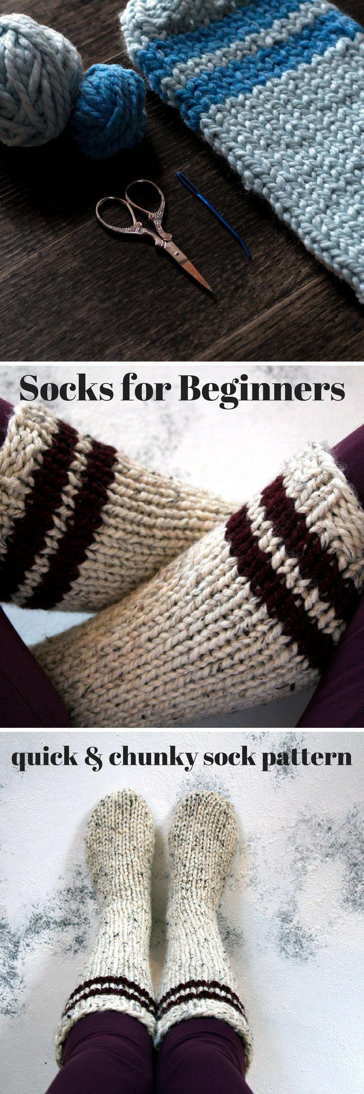 Love this sock pattern for super-fast, cosy socks. #affiliate #socks #knitting