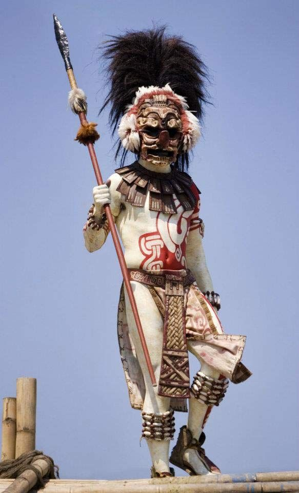 Aztec dancer with mask
