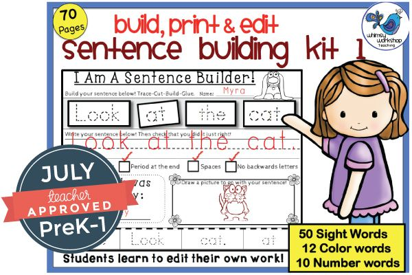 Here is one of the amazing products included in the July Teacher Approved PreK-1 collection. We love this Sentence Building Kit from Whimsy Workshop. And she is running a special sale, today only! 7/15
