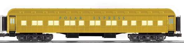 """Polar Express Scale Gold Coach        Die-cast metal trucks and operating couplers     Hidden uncoupling tabs     Flexible diaphragms between cars     Opening doors     Overhead interior lighting with ON/OFF switch     Authentic Polar Express decoration and details     Gold finish     Detailed interior floor plan     12 children figures in the interior  Gauge: Standard O Scale Dimensions: Length 19"""" Minimum Curve: O-54"""