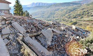 A collapsed building in L'Aquila after the strong earthquake in central Italy, 30th October, 2016.