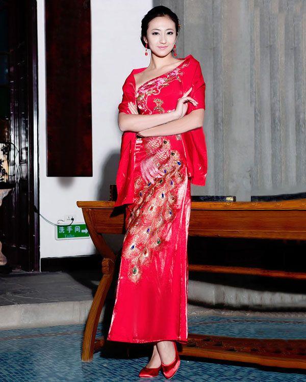 RedPlace Brocade One Shoulder Women Cheongsam Dress