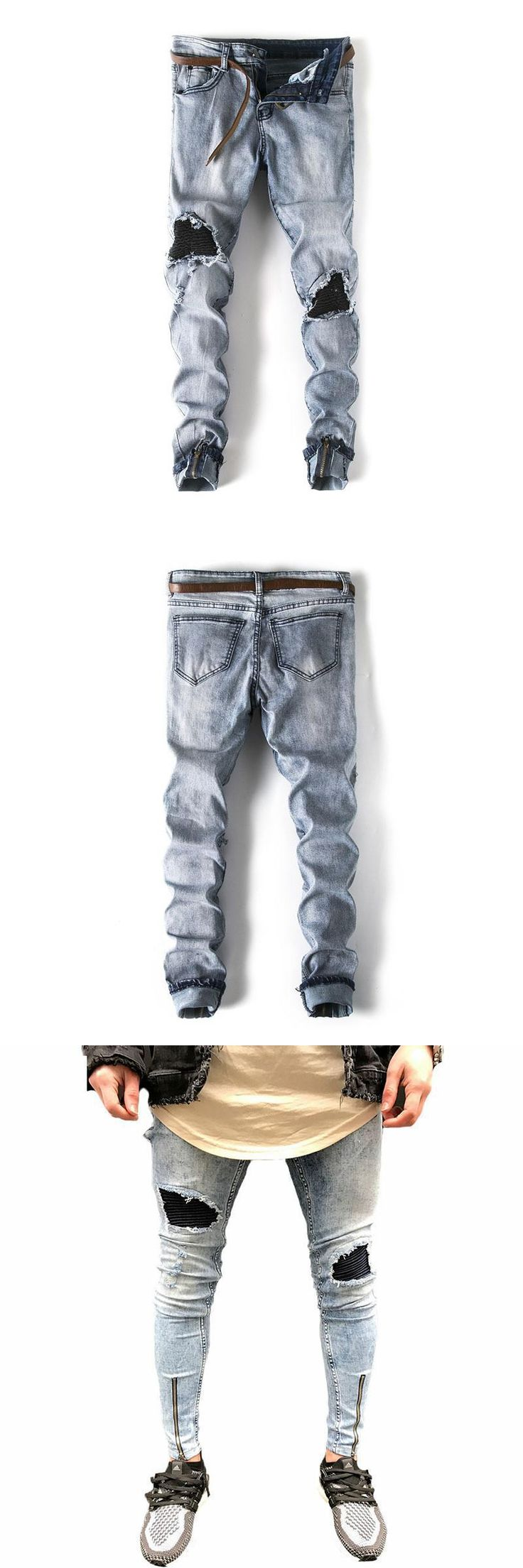 Streetwear denim pants Popular Snowflake Whitish Mens Jeans Washed Spliced Hole Jeans Casual Men's Slim Fit Jogger Jeans