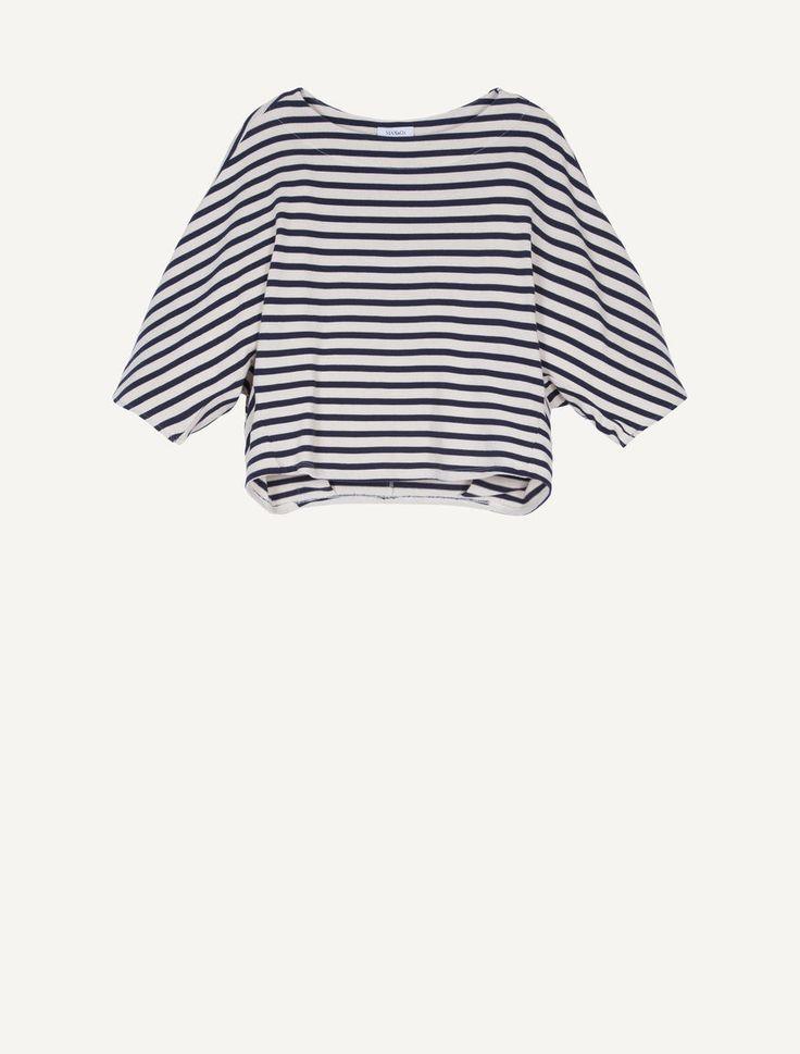 MAX&Co. - T-shirt batwing di jersey a righe, Fantasia Blu Marino - T-shirt in jersey pesante di cotone a righe. Silhouette a pipistrello, blusante dietro, con pieghe al fondo e ai polsi. Vestibilità ampia alle spalle, morbida al fondo. Lunghezza sotto la vita. Scollo a barchetta. Spalle a kimono. Maniche trequarti a sbuffo. - Spedizione e resi gratuiti!