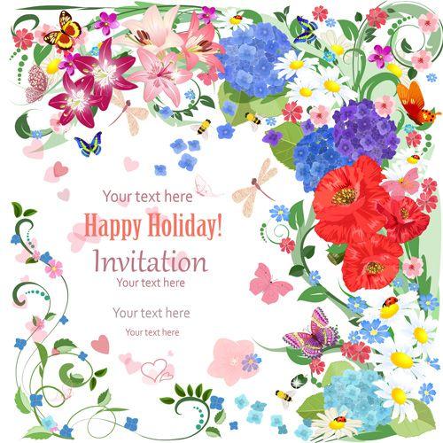 Flower holiday invitation cards vectors 07