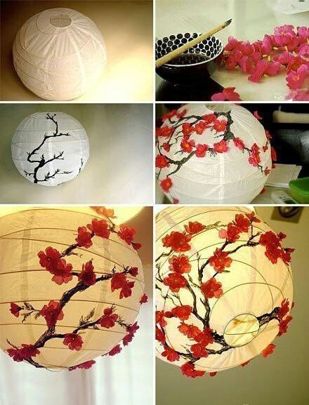 How to decorate a plain white paper lantern with a beautiful cherry blossom motif!