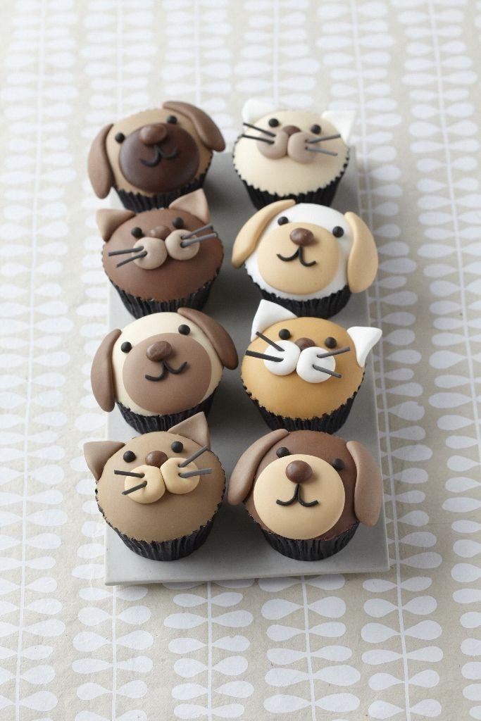 Honden en katten cupcakes