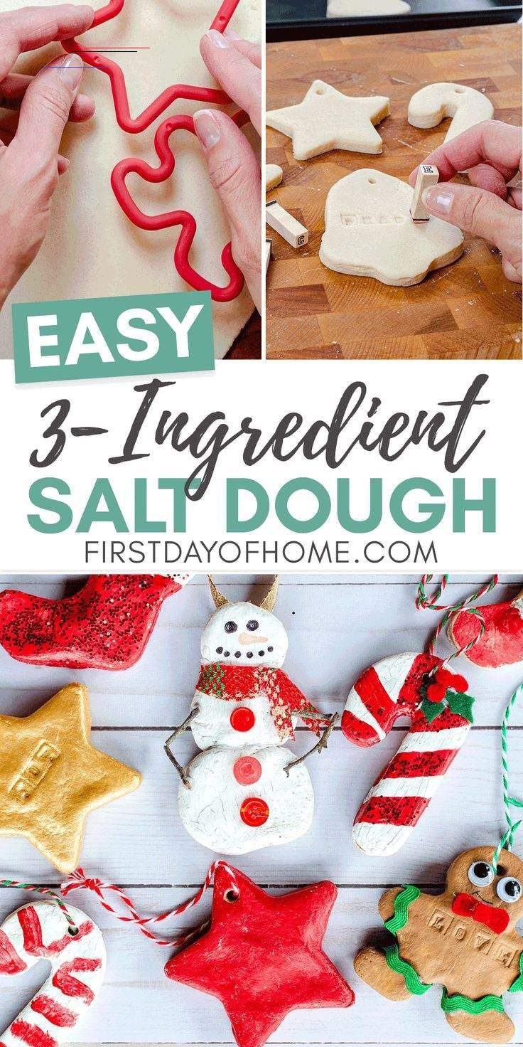 Salt Dough Ornaments Saltdoughrecipe Learn How To Make These Easy Salt Dough Ornaments Using A 3 Ingredient Recipe In 2020 Kerst Ornament Kerst Knutselen Ornament