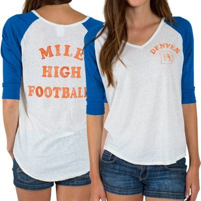 Women's Denver Broncos Junk Food White Victory Tri-Blend V-Neck Three-Quarter Sleeve T-Shirt