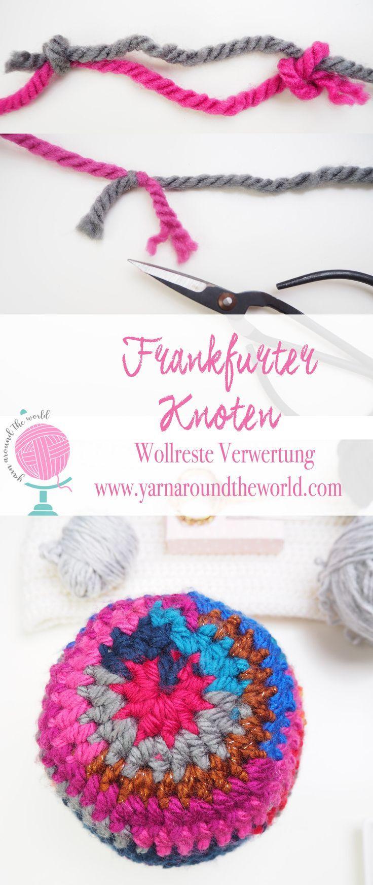 Frankfurter Knoten Farbenfrohe Mutze Handarbeit Grobes Hakeln Stricken
