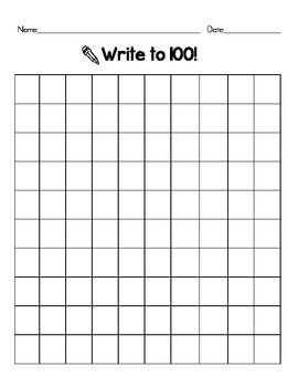 Revered image with printable blank hundreds chart