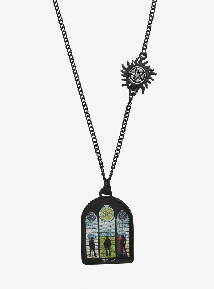 "Supernatural  is your religion. Show everyone with this black chain necklace. It has an anti-possession symbol charm on the side with a stained glass charm that features Sam, Dean and Castiel's silhouettes.     Metal  Chain: 16"" long with 3"" extender  Charm: 1 1/2"" x 1""  Imported"