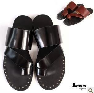 size38-45 2013 fashion men's black brown cool rivets summer gladiator style genuine leahter flip-flop male sandals b387 sale US $76.00