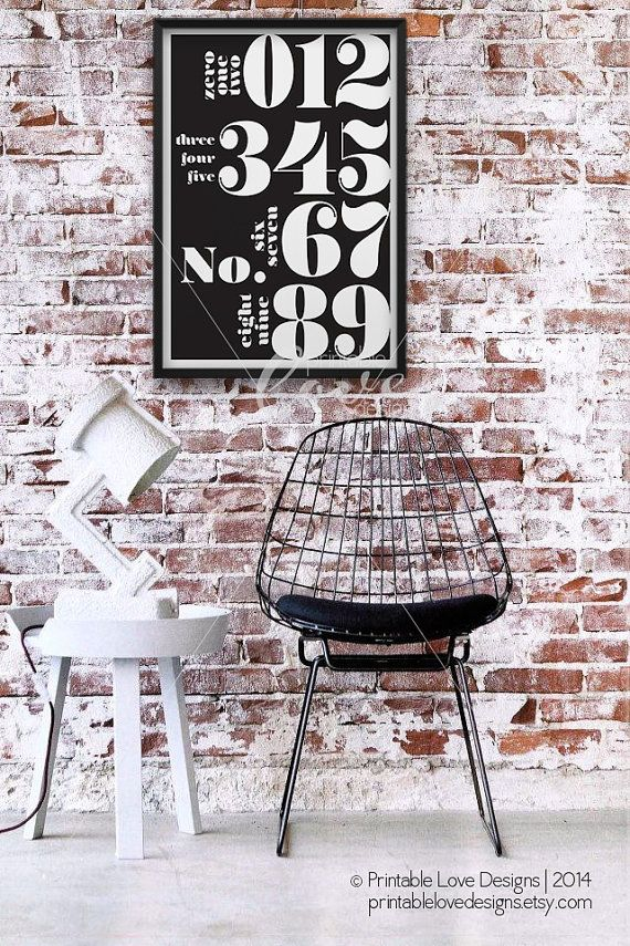 || NUMBERS TYPOGRAPHY ||    A modern, industrial themed numeral typography print with the stark black to the bright white oversized numbers