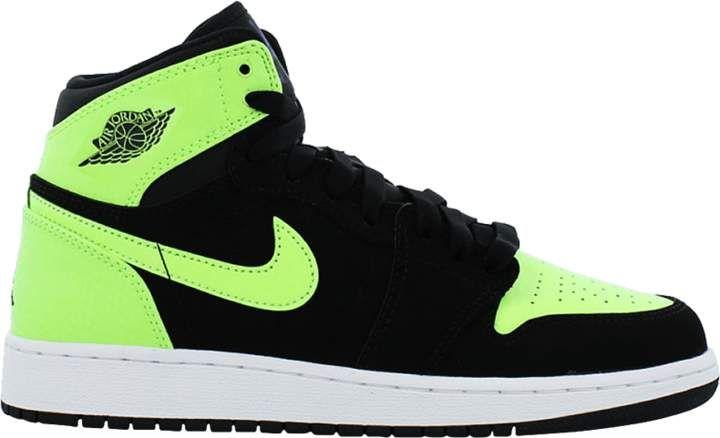 Jordan 1 Retro High Black Ghost Green Gs In 2020 Jordan 1