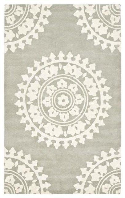Handmade Soho Chrono Grey/Ivory New Zealand Wool Rug - mediterranean - rugs - - by Overstock