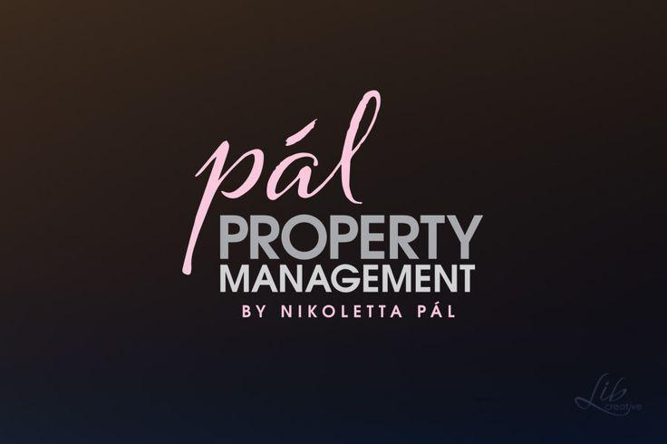 Pal Property Management logo design pink & grey type on black background by Lib Creative