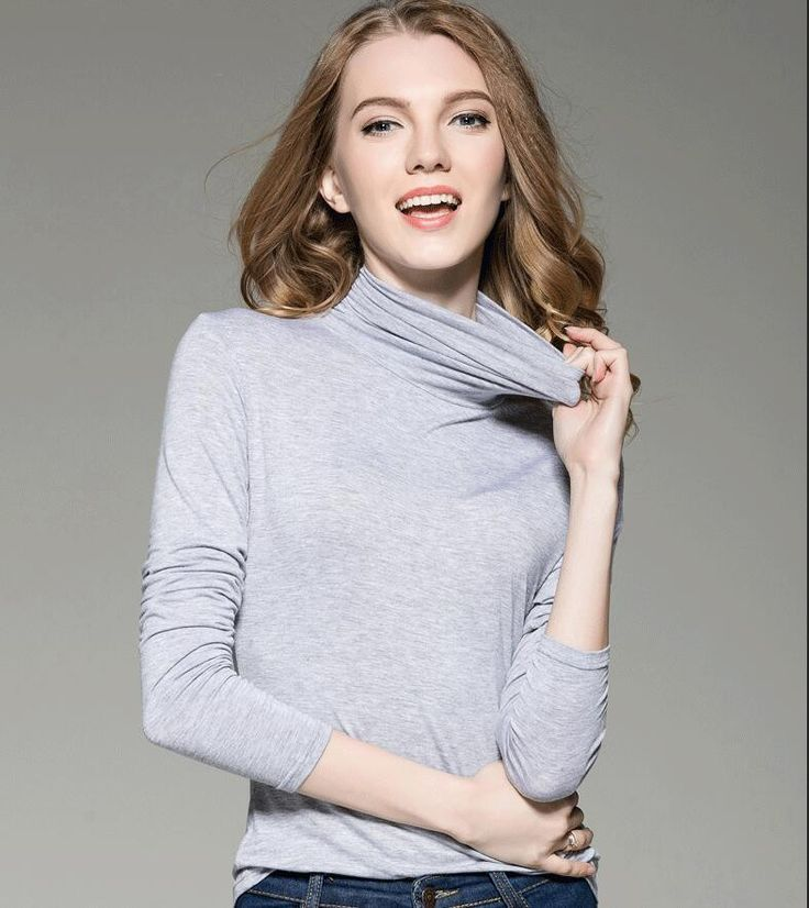 Plus Size Women Fall Winter Casual Solid Turtleneck T shirts Solid Long Sleeve Casual Shirts Top Modal S-4XL Black Gray White  #highschool #shoulderbags #fashion #WomenWallets #backpack #YLEY #kids #bagshop #L09582 #handbags #bag #Happy4Sales  #NewArrivals