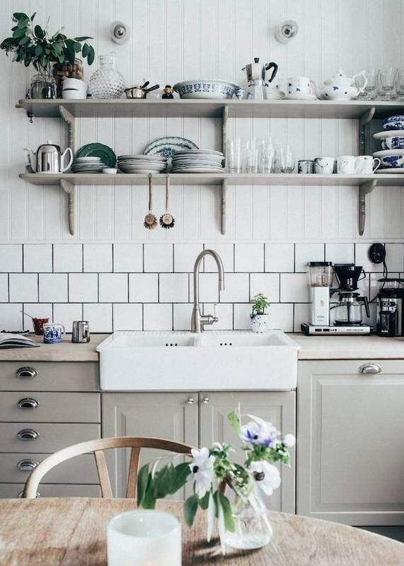 gray kitchen cabinets.