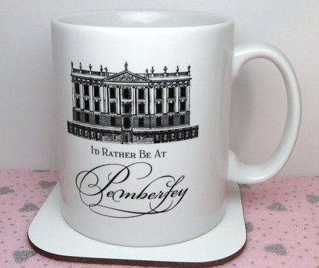 Pride & Prejudice Mug, I'd Rather Be At Pemberley Mug, Book Themed Mug, Jane Austen, UK on Etsy, $13.32