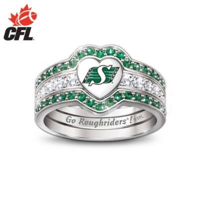 Saskatchewan Roughriders Engraved Womens Three Band Ring