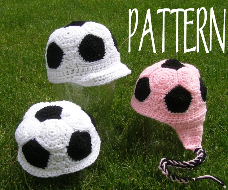 Crochet PATTERN for Soccer Beanie. Must figure this one out...