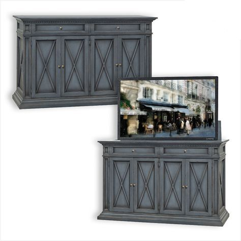 Old Biscayne Designs 7380 OBD Chests and End Tables Allisa Cabinet with TV Lift Discount Furniture at Hickory Park Furniture Galleries