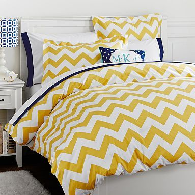 Chevron Duvet Cover + Sham, Yellow-this my not be our favorite color but the pattern is cool. Again I think I maybe able to find fabric similar and save a bundle