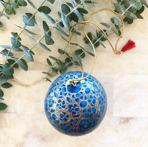 The Neela Ornament The Haathee Ornament #papiermaché #papiermachéornament #papiermachéchristmas #handmadeornament #kashmiriart #kashmirpapiermaché #papiermachéindian #blueandgold #blueandgoldchristmas #bluechristmas #goldchristmas