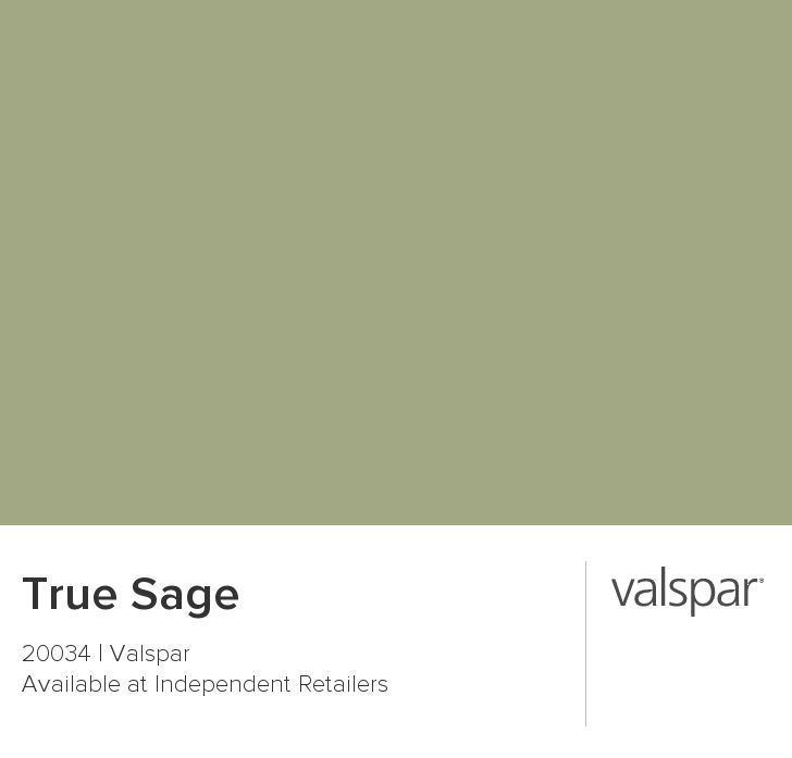 True Sage from Valspar - Nice neutral green paint color for rustic / farmhouse kitchen ... I think I'll use this for my lower cabinets w/ dark butcher block countertops and copper farmhouse sink
