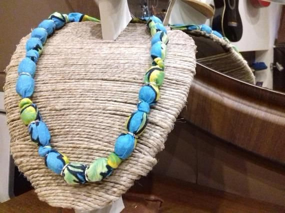 sito affidabile 909d8 9c137 Beaded fabric covered necklace, ribbon scrap covered wooden ...