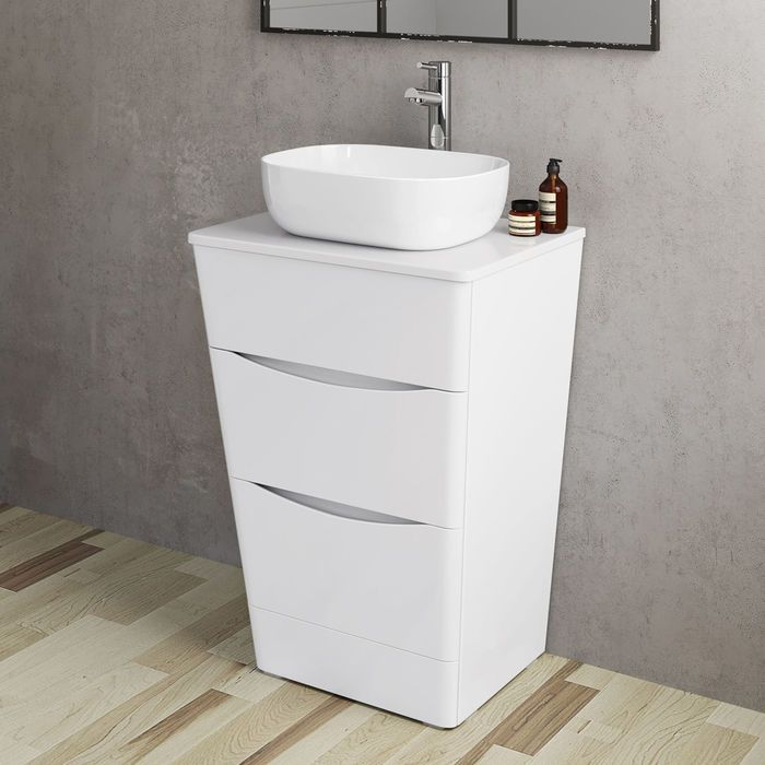 600mm Austin Ii Gloss White Countertop Unit And Colette Basin Floor Standing White Countertops Bathroom Vanity Units Vanity Units