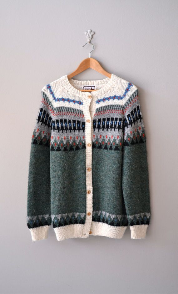 vintage Northern Lands fair isle cardigan     vintage 1950s Hudson Bay Point wool coat    #vintage #fairisle