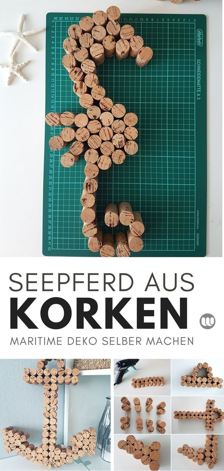 Maritime Korkdekoration: Anchor & Seahorses basteln mit Weinkorken #anchor #co …