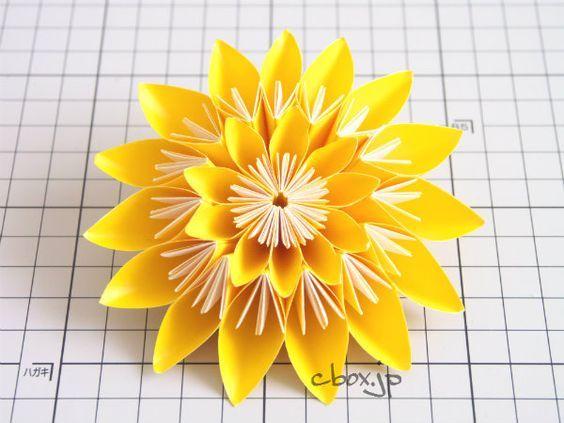 折り図も展開図もなかったのですが、基本の花くす玉のパーツを使ったらそれっぽいものが出来るんじゃないかと思い立ち、挑戦してみることにしました。
