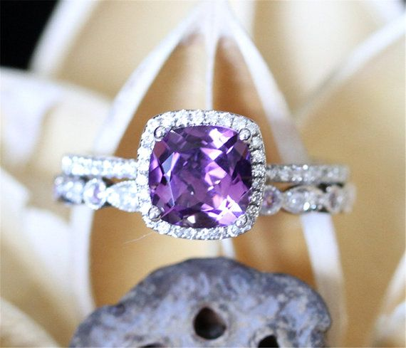 Amethyst Wedding Ring Set6mm Cushion Cut Amethyst by LeRhin