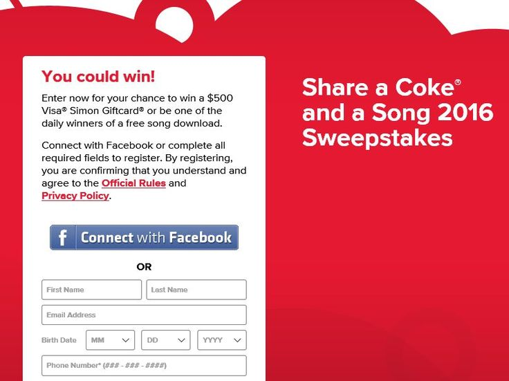 Enter The Share A Coke & A Song 2016 Sweepstakes for a chance to win a $500 Visa Simon Gift Card!
