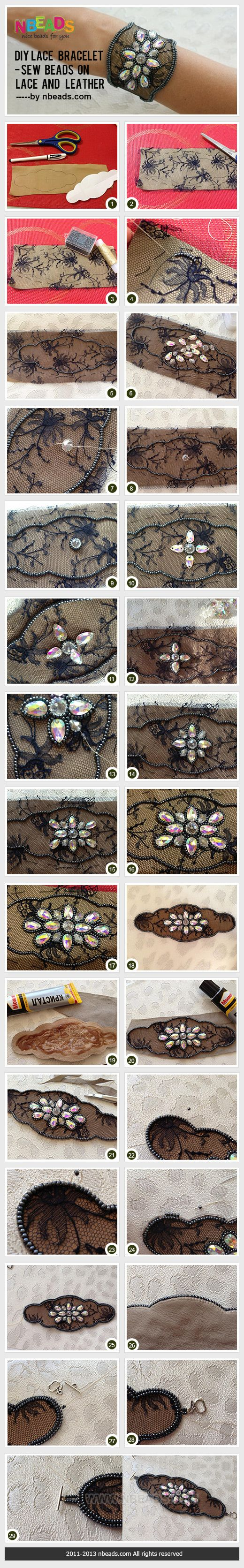 These step-by-step instructions show you just how easy it is to make your own #LeatherAndLace jewelry designs! I LOVE it! - Allie FusionBeads.com #FusionBeadsTakeover