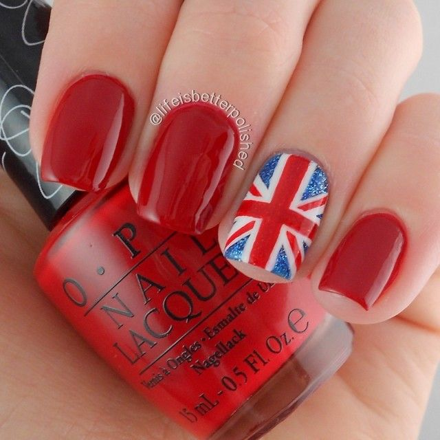 Red OPI manicure with Union Jack ring finger ☆ Instagram photo by lifeisbetterpolished #nail #nails #nailart