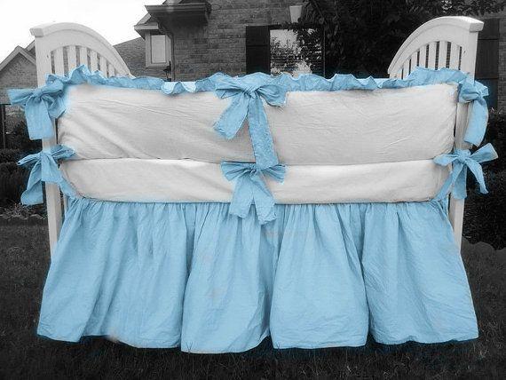 Baby Boy bedding white crib bumper with by CustomLinensHandmade