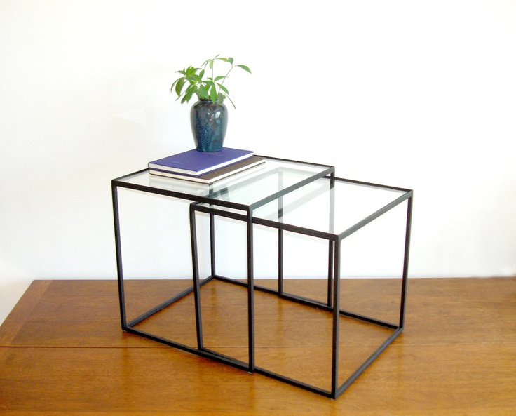 Nesting Tables   Steel And Glass Another Option For Living Room  (coordinates With Round Coffee Table From Same Fabricator)
