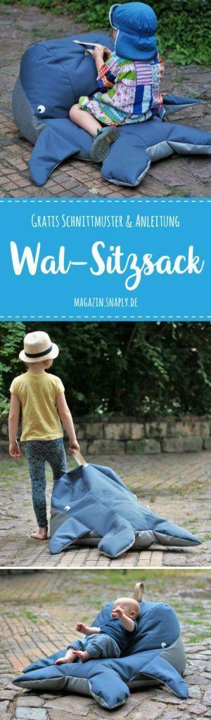 Wal-Sitzsack nähen – gratis Schnittmuster & Nähanleitung