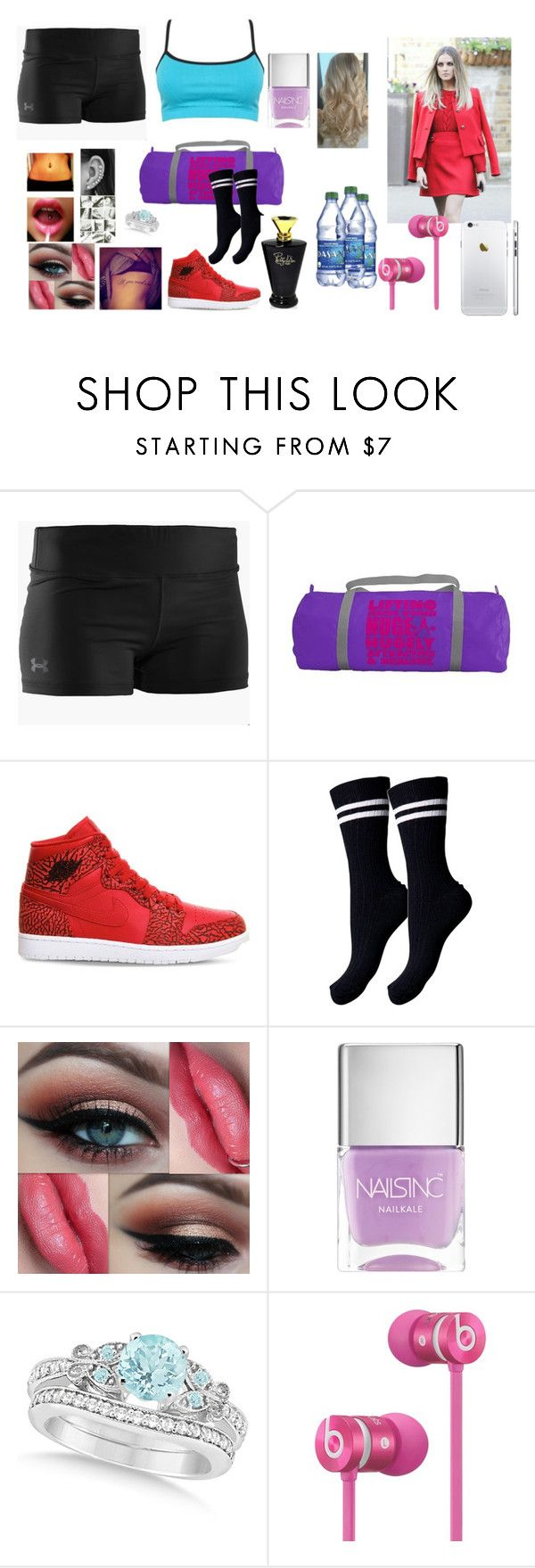 """""""Leah at the gym"""" by thefuturemrsambrose ❤ liked on Polyvore featuring Under Armour, NIKE, Pieces, Nails Inc., Allurez and Beats by Dr. Dre"""