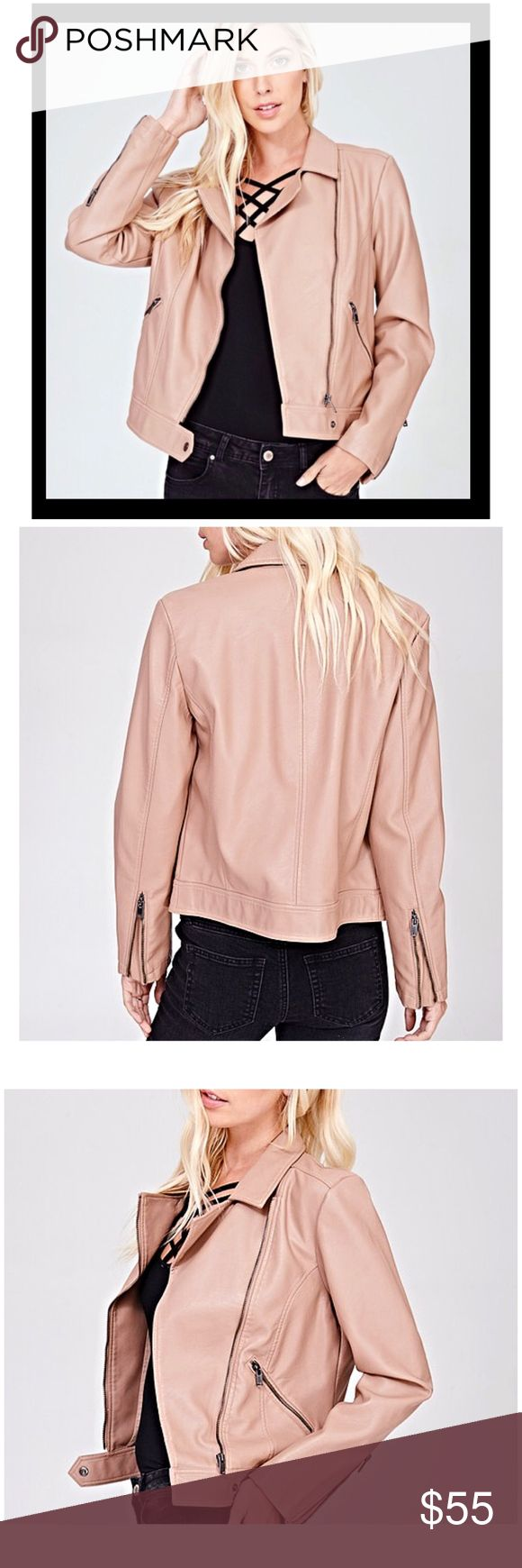 """New Arrival! Vegan Leather Moto Jacket SLEEK BLUSH VEGAN LEATHER MOTO JACKET. CLASSIC MOTORCYCLE JACKET WITH A MODERN TWIST IN PALE PINK. ZIPPER IN THE FRONT. SIDE ZIP POCKETS, SNAP CLOSURE ON THE FRONT. TRUE TO SIZE. BUST S17"""" M19"""" L21"""" LENGTH APPROX. 24"""" FALLS AT THE WAIST. Angelique's Atelier Jackets & Coats"""