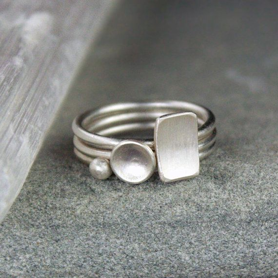 Geometric Stacking Silver Rings - Minimalist, Mod, Stack of 3 Ask a Question…