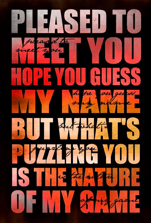 pleased to meet you hope know my name
