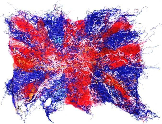 Red white and blue fibres..