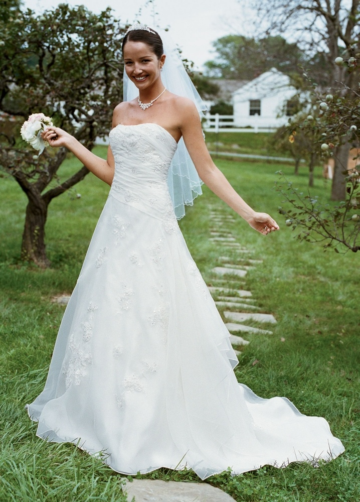 David's Bridal Wedding Dress: Embroidered Organza Gown With 3D Floral Details Style WG9859, Soft White, 6